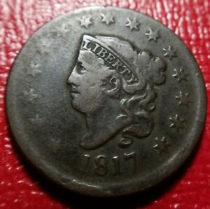 1817-Coronet-Head-Large-Cent-15-Stars-Around-Fine-F-Problem-Free-Original
