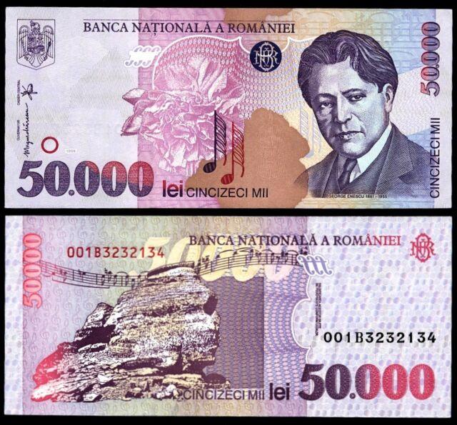ROMANIA 50000 ( 50,000 ) LEI 1996 P#109 BANKNOTE PAPER MONEY UNC
