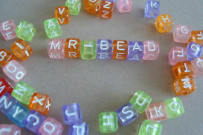 White Colour Letters** **2 Full Sets of Plastic Cube Coloured Alphabet Beads