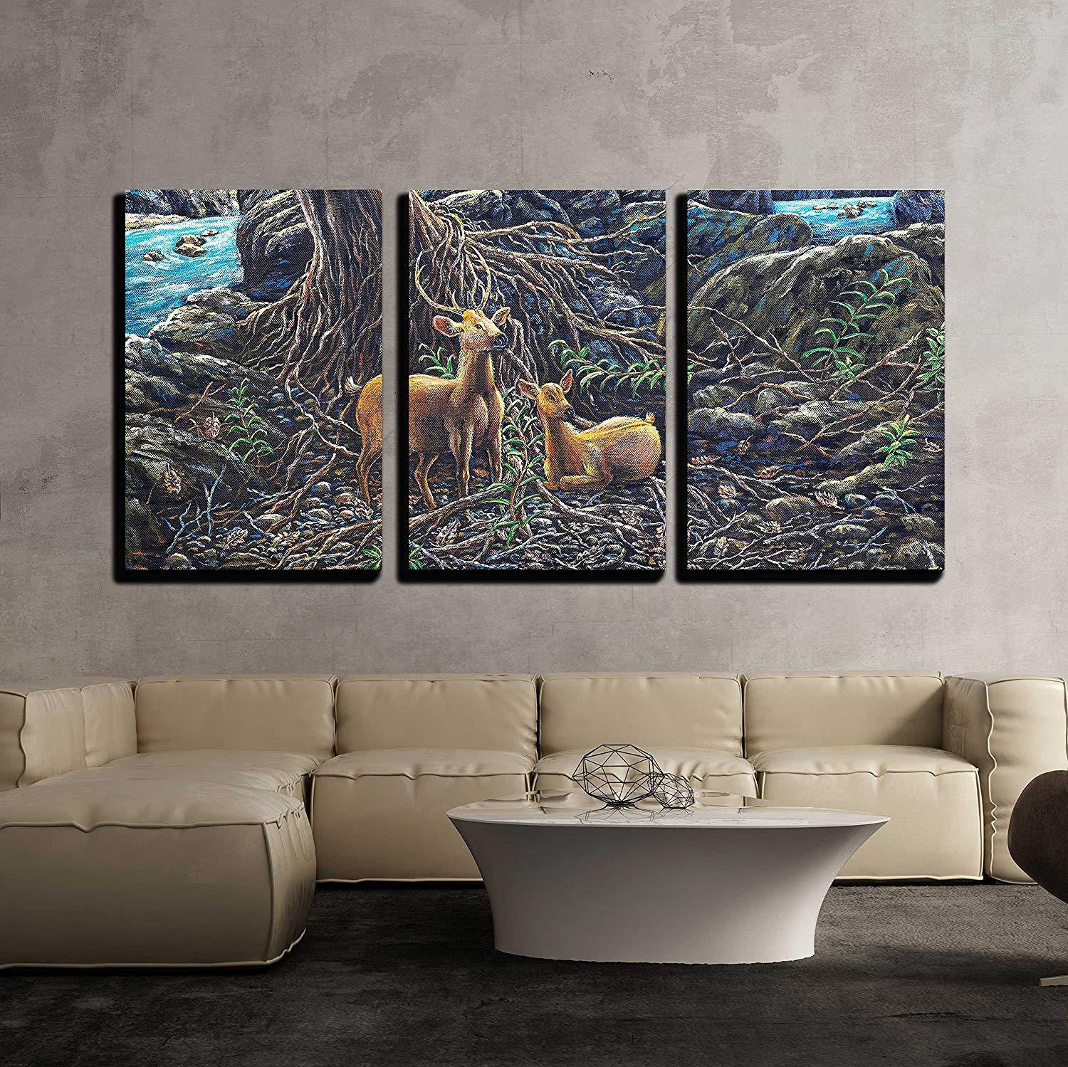 Wall26 - Oil Painting on Canval Deer in the Forest - CVS - 24 x36 x3 Panels
