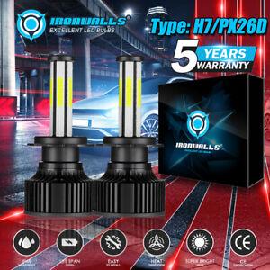 IRONWALLS-Headlight-H7-6-Sided-COB-6500K-LED-Bulbs-Kit-2800W-High-or-Low-Beam-2x