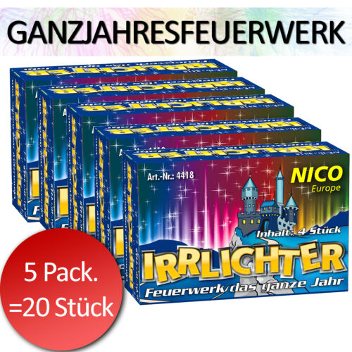 Kinder Silvester NICO Ganzjahresfeuerwerk Irrlichter Großpackung 5x4 Stück
