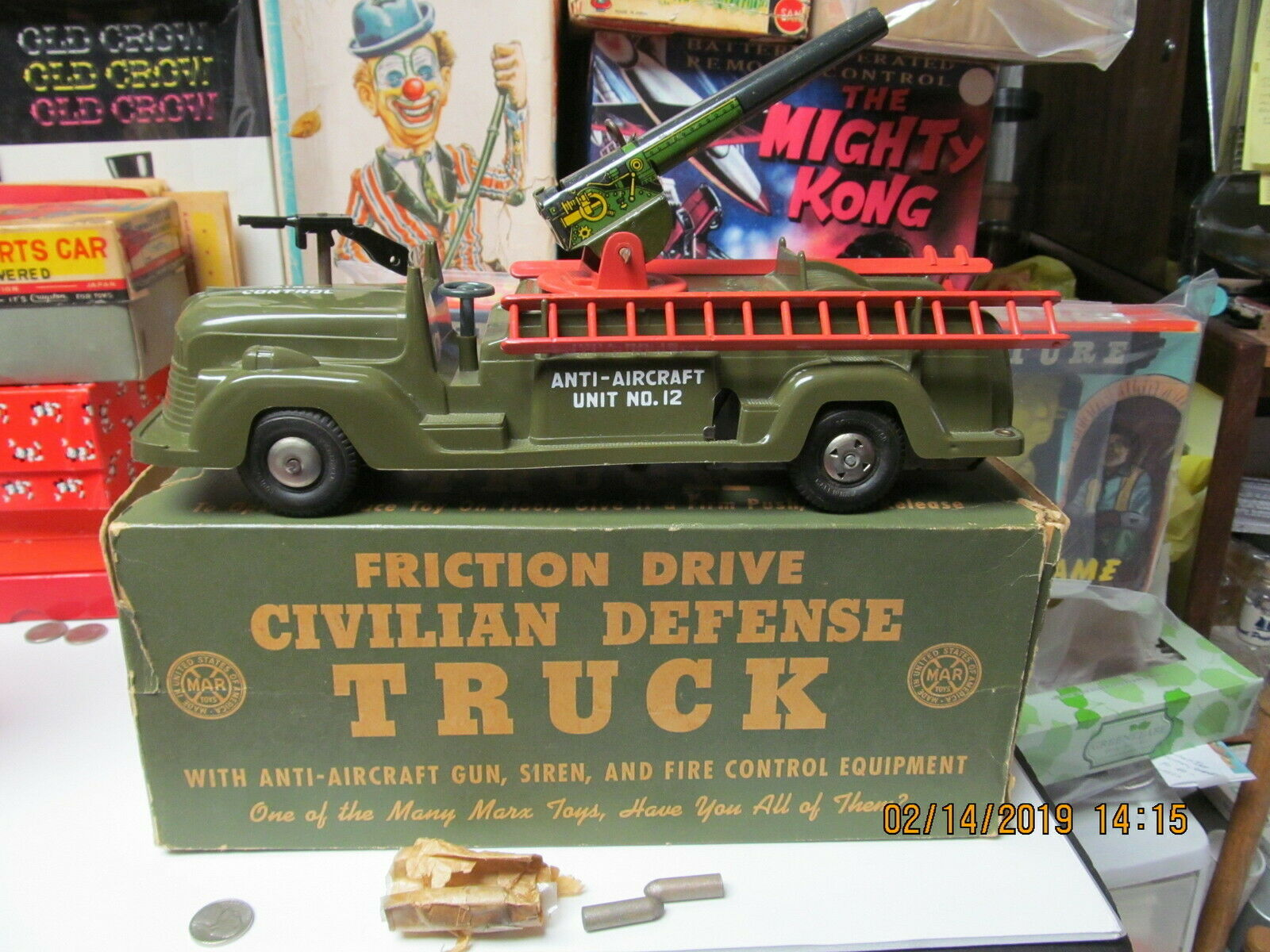 CIVIL DEFENSE ANTI AIRCRAFT TRUCK BY MARX IN BOX FRICTION COMPLETE WORKS 12  EXC