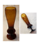 "thumbnail 1 - VINTAGE Vase Blown Glass AMBER Swirl Scalloped Pedestal 13"" Tall"