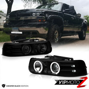 1999 2002 chevy silverado 00 06 suburban tahoe black smoke halo headlights set ebay
