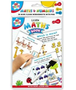 Kids-LEARN-MATHS-Activity-Book-Wipe-Clean-Puzzles-Counting-Educational-Fun-3