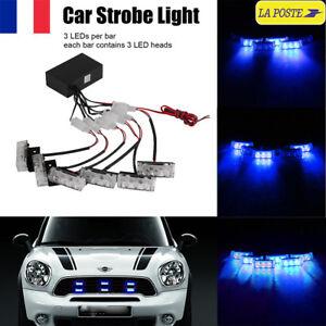 18-LED-Lumiere-Bleu-Stroboscope-Strobe-Clignotant-d-039-Urgence-Voiture-Vehicule-12V