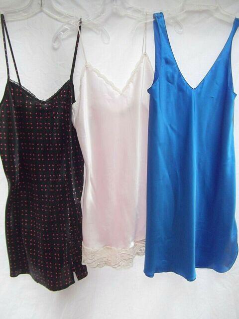 vtg lot 3 short nightie night gown silky satin lace bead M heart pink blue MINT