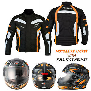 Motorbike-Motorcycle-Scooter-Full-Face-Helmet-Racing-Waterproof-Jacket-Textile