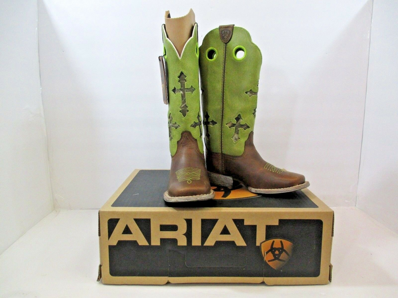 Ariat Kids Ranchero Boots New In Box Powder Brown LIme Wide Square Toe 11  H 9 M