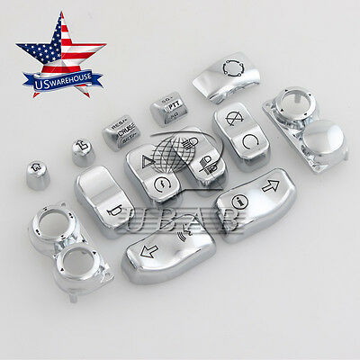 Chrome Hand Control Switch Housing Caps for 14-17 Harley Electra Street Glide
