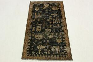 Orient-Teppich-Antik-schwarz-braun-modern-Used-Look-160x90-handgeknuepft-3412