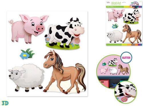 FARM ANIMALS wall stickers 5pc w//glitter 3D nursery decor baby pig cow pony lamb
