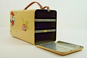 50er-Vintage-Lunchbox-Blechdose-Dose-Brotbox-Brotkasten-Metall-Mid-Century-60er