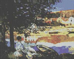 Monet-Rio-escena-en-bennecourt-Cross-Stitch-Kit-de-12-034-x-9-5-034-30-5-cm-X-24cm