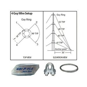 40 Ft 4 Way Down Guy Wire Kit W 48 Anchors For Telescoping Antenna Masts Ebay