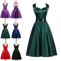 CHEAP LADIES 1940'S 1950'S VINTAGE STYLE RETRO FLARED TEA PARTY PROM SWING DRESS