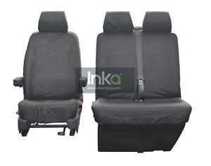 VW-Transporter-T6-Kombi-Front-Inka-Sur-Mesure-Impermeable-Housses-de-Siege-Gris-1-2