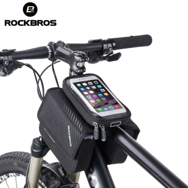 """RockBros Bicycle Top Tube Bag for 6.0/""""Touch Screen Mobile Phone Bag Black"""