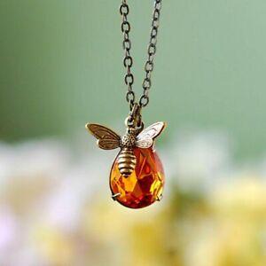 Honey-Bee-Schmuck-Kristall-Honigbiene-Anhaenger-Halskette-Geschenk-Collier