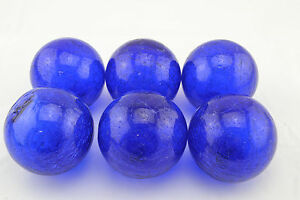 "6 PCS COBALT BLUE DECORATIVE REPRODUCTION BLOWN GLASS FLOAT FISHING BUOY BALL 3"""