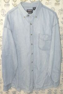OUTRAGEOUS-SPORTS-Men-s-Size-XL-Blue-100-Cotton-Denim-LS-Button-Down-Shirt-EUC