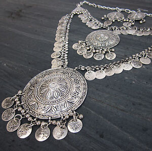 Statement-Boho-Coin-Necklace-Earring-Vintage-Tribal-Gypsy-Kuchi-Fashion-Jewelry