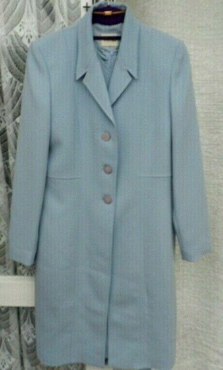 ( Ref 5207 ) Viyella - Size 10 - Blue Short Sleeve Dress & Jacket Suit Wedding