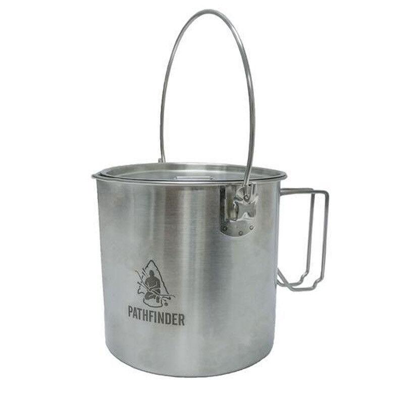 Pathfinder Stainless Steel Bush Pot and Lid Set 120oz Camping, Bushcraft etc
