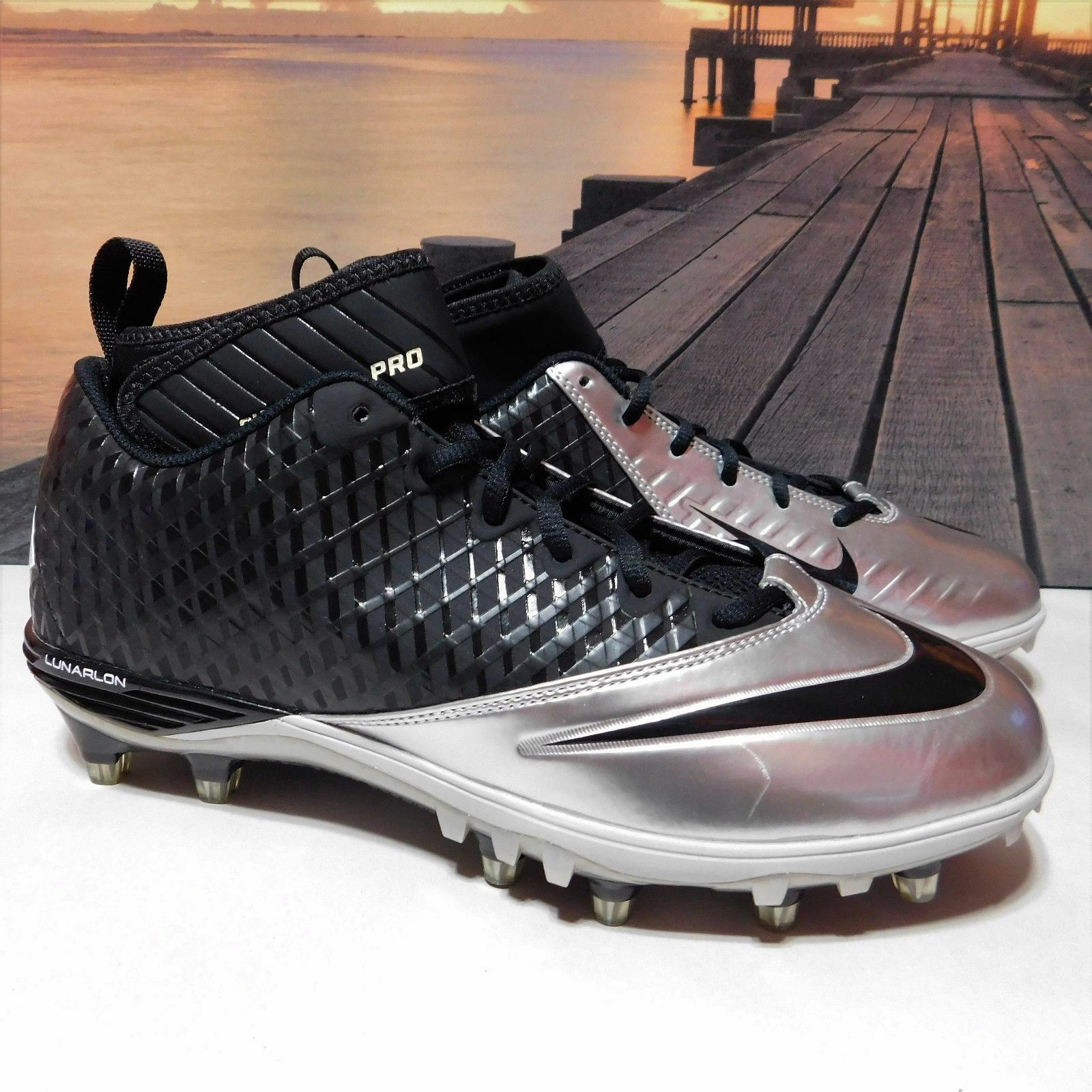 New Mens 11.5 Nike Lunar Superbad Pro TD Football Cleats Black Silver 534994-023