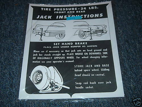 1957 CADILLAC JACK INSTRUCTION TRUNK DECAL EXEC BARITZ