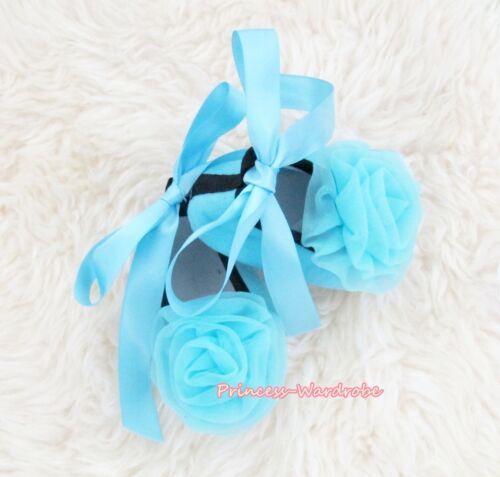 Infant Baby Toddler Girl Light Blue Soft Flat Crib Shoe Light Blue Rose 0-18M
