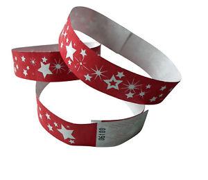 100 Tyvek-Festival<wbr/>bänder weiß, mit Sterne rot, durchnummerier<wbr/>t