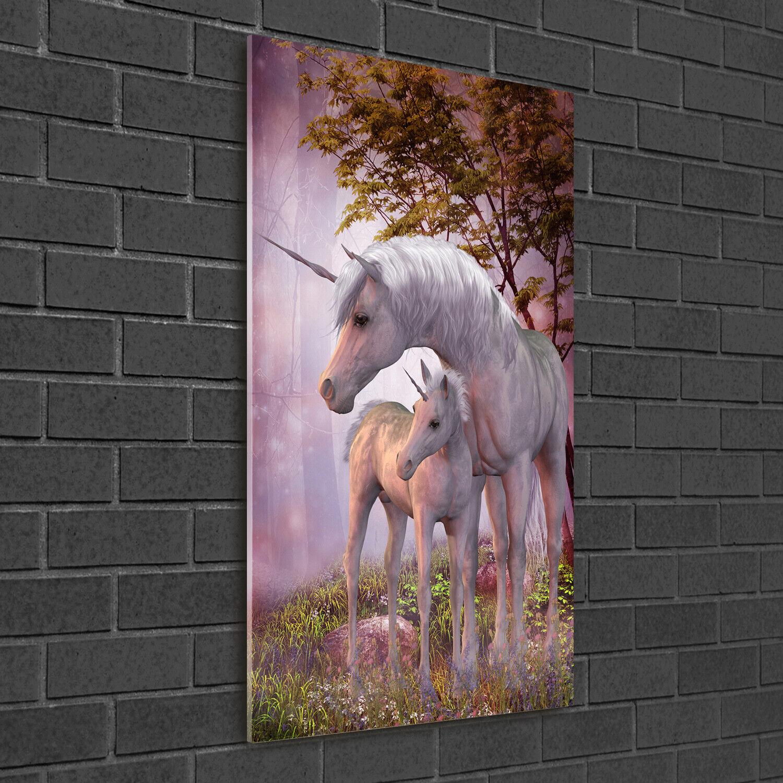 Wand-Bild Kunstdruck aus Hart-Glas Hochformat 50x100 Einhörner