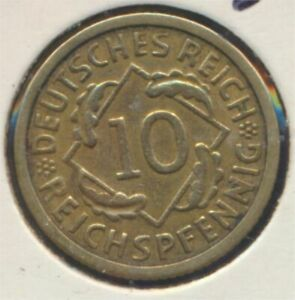 German-Empire-Jagerno-317-1934-G-ext-fine-10-reich-pfennig-spikes-7869014