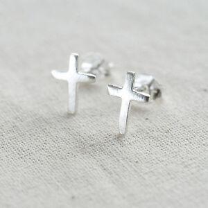 Sterling Cross Earrings Christening Earrings Silver Cross Stud Earrings in Personalised Box 27B5