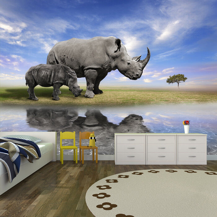 Grey Rhino Wall Mural Jungle Animals Photo Wallpaper Kids Bedroom Home Decor