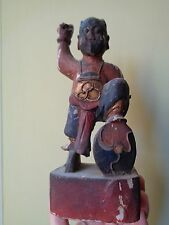 ANTIQUE CHINESE LACQUER CARVED WOOD FIGURE HAND PAINTED DEITY FIGURE SHIELD
