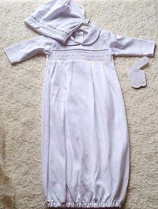 fdac181f5 Boys Girls KISSY KISSY PREMIER white gown hat PRE NB 0-3 NWT smocked ...