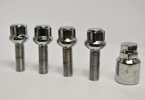 Set of 4 x M14 x 1.5 Silver 40mm Thread Radius Locking Wheel Bolts