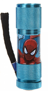 9x2.5 CM Kids Gift  Night Light Spiderman Light Blue Aluminium LED Flash Torch
