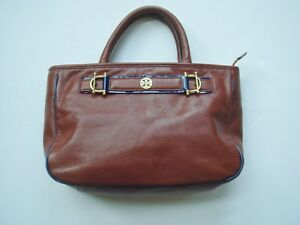 445f4080cd54 Image is loading TORY-BURCH-Luggage-Tan-Brown-Leather-Purse-Handbag