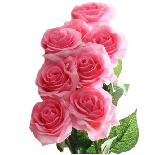 10-20 Head Real Touch Latex Rose Flowers For wedding Bouquet Decoration 8 Colors