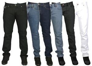 Para Hombre Ajustados Slim Fit Pantalones Vaqueros De Marca Jean Azul Negro Blanco Talla 28 40 9 99 Ebay