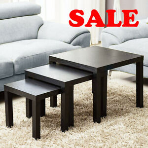 Black Nest Of 3 Tables Wooden Gloss Coffee Table Side End Tables