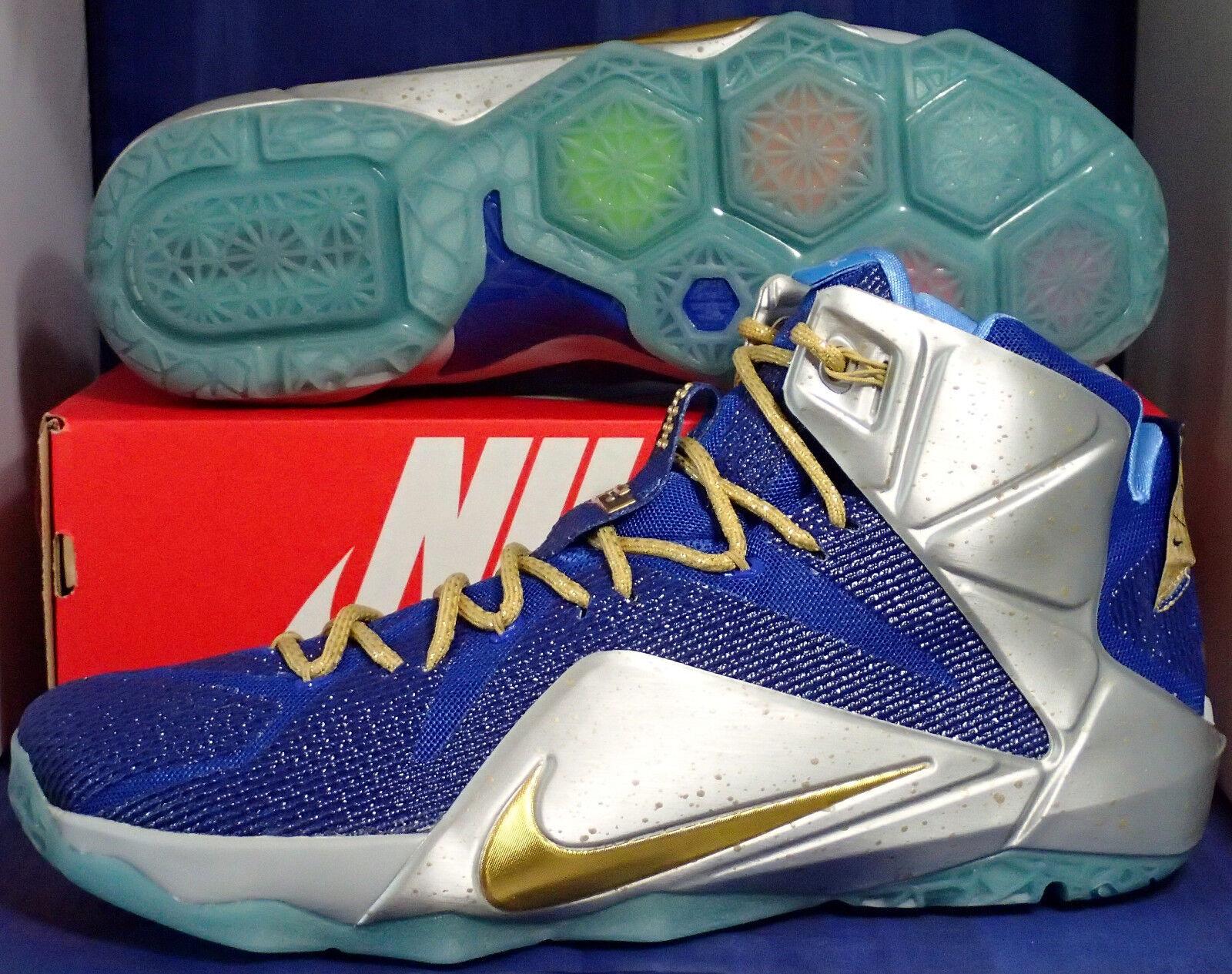 Nike lebron xii 12 id blu argento oro sz 14 (728709-982)