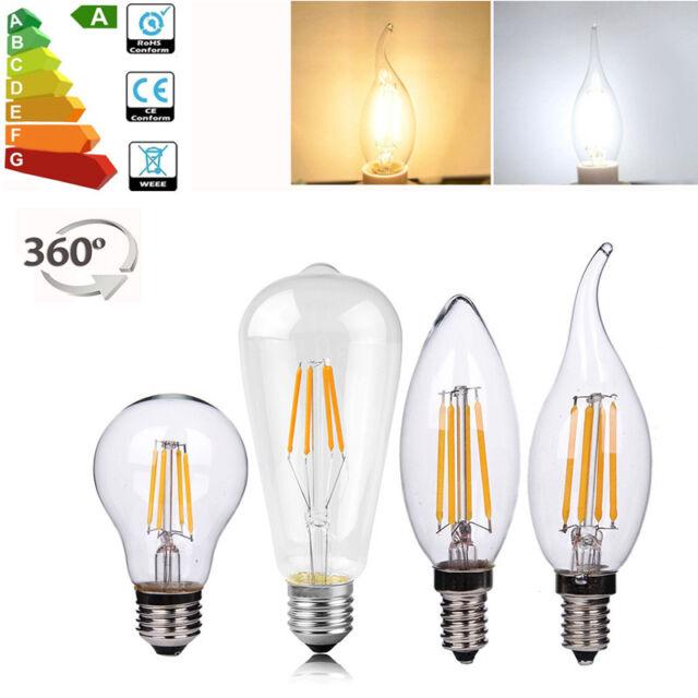 E14 E27 COB LED Edison Ampoules Lampe Vintage Antique Rétro Noël Filament Bulb