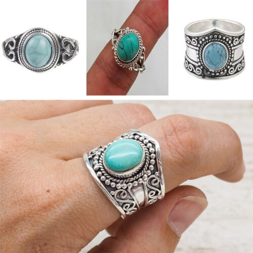 Vintage Women Men Charm 925 Silver Ring Turquoise Engagement Wedding Size 6-10