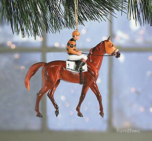 Breyer-10114-2004-Sir-Barton-Racehorse-Triple-Crown-Christmas-Horse-Ornament-NIB