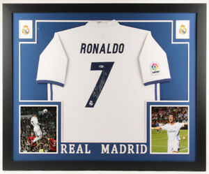 hot sale online 56287 8b040 Details about Cristiano Ronaldo Signed Real Madrid 35x43 Custom Framed  Jersey (Beckett COA)